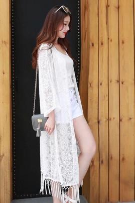 Áo choàng kimono đi biển voan trắng