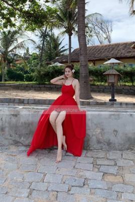 Đầm maxi đỏ 2 dây nhấn eo