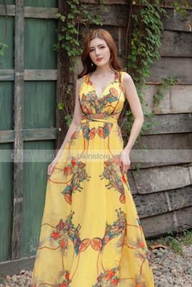 Đầm maxi hoa vàng hở lưng