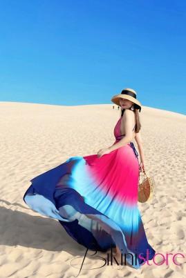 Đầm maxi loang màu đỏ phối xanh