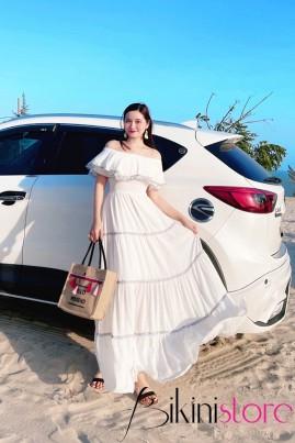 Đầm maxi trắng bèo viền 2021