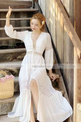Đầm maxi trắng cột ngực tay dài
