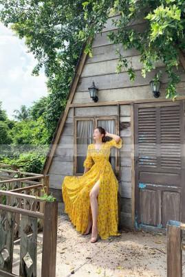 Đầm maxi vàng hoa nhí