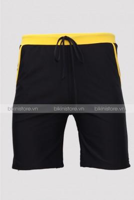 Quần bơi nam dạng short đai vàng