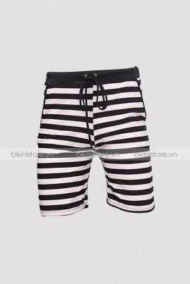 Quần bơi nam short sọc đen trắng
