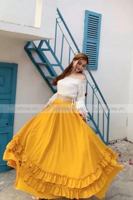 Sét đầm maxi trắng phối chân váy vàng 01