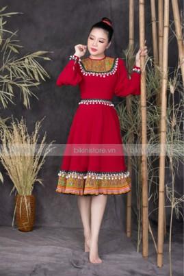 Đầm maxi thổ cẩm đỏ ngắn